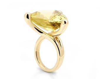 Gold's ring statement ring soliter ring lemon quartz ring