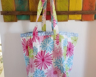 Flowered Canvas Reversible Tote/Grocery Bag; Flowered Everyday Tote/Bag; Flowers; Light blue; Washable