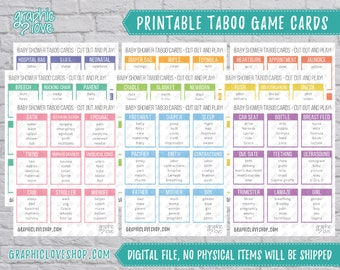 Digital Baby Shower Taboo, 81 Cards | All Ages, Gender Reveal Party Game, Sprinkle, New Baby | PDF File, Instant Download, Ready to Print