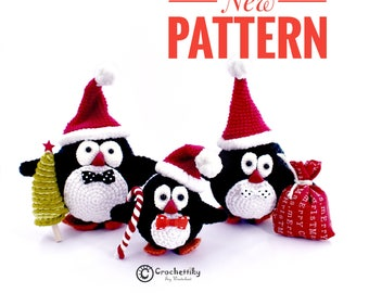 Pattern Christmas penguins