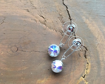 Safety Pin Swarovski element earring