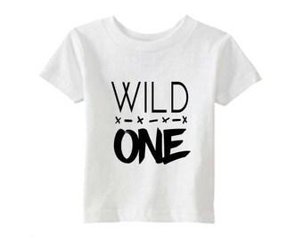 Wild One Tee Shirt, First Birthday, First Birthday Gift, Wild Child , Boys Girls Baby Toddler Tee, Unisex,  Trendy Modern, Where the wild