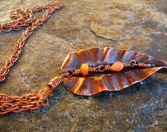 Copper necklace, Leaf pendant, Fold-formed copper, Large pendant, OOAK