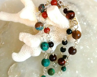 Anklet bracelet-earth-Indian colors-terracotta,Turquoise-natural stones - boho anklet - birthday gift- ready-to-ship.