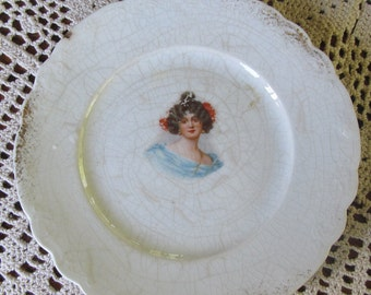 portrait plates Victorian Antique Profile Plate Cottage Chic Style  Blue Scarf Chippy White Paint DE SOTO L Palestine pottery palestine ohio