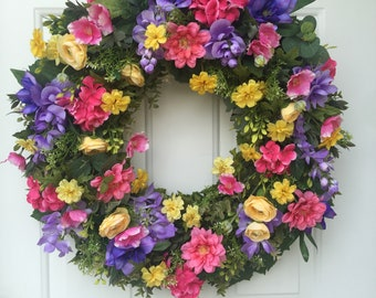 Purple Clematis & Wisteria with Pink Geraniums and Yellow Daisies Wreath