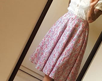 90s does 50s floral print circle skirt size XS