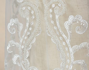 White  embroidery Soft gauze mesh beading lace   fabrics wedding gown fabric,bridal dress tulle lace  1 yard LLHB29W