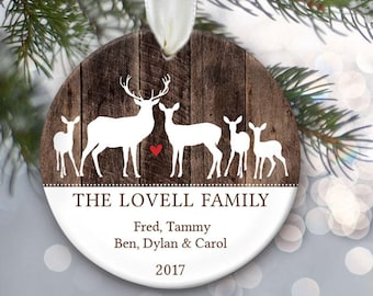 Deer Family of five Ornament - Personalized Christmas Ornament - Family of 5 Custom Deer Ornament - Family Name Ornament - Last Name OR779
