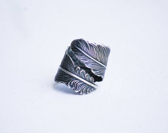 Silver Feather Ring Rose Gold Feather Wrap Ring Adjustable Raven Feather Ring Gift for Him Boyfriend Ring Gift for Her Boho Owl Feather Ring