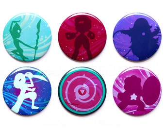 Steven Universe Buttons | Steven Universe Magnets | Set of Six Crystal Gem Magnets or Buttons | Garnet, Amethyst and Pearl... And Steven!