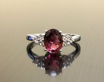 Diamond Tourmaline Engagement Ring - Pink Tourmaline Diamond Wedding Ring - 14K White Gold Diamond Tourmaline Ring - Pink Tourmaline Ring