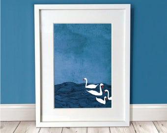The British Summer Print / Swan Print / British Art / A3 Art Print / Water Print / Blue Print / Wall Art / Wall Décor / Gift Idea