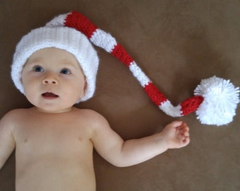 Baby Christmas Cap, Elf Hat, Red and White Striped Hat, Winter Hat, Newborn Stocking Cap, Christmas Hat
