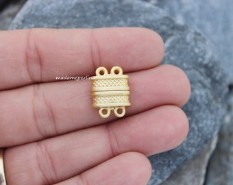 extra strong magnetic clasp for two 2 strand matte gold plated BRASS multistrand  turkish findings multi strand clasps mdla240