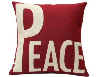 Peace Appliqued Eco-Felt Pillow Cover Ruby Red and Antique White