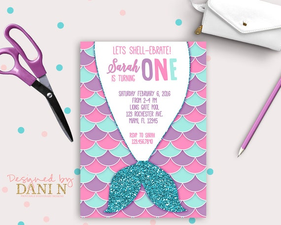 Mermaid Birthday Party INVITATION Pool party pink teal and