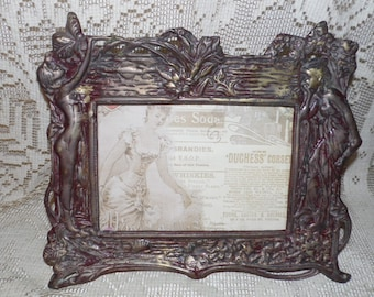 Antique Art Nouveau Brass Bronze Cast Ladies Design Picture Frame W/Stand