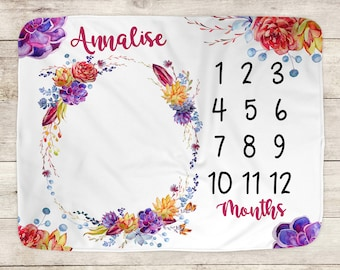 Baby Milestone Blanket, Monthly Growth, Personalized Blanket, Baby Shower Gift, Baby Girl, Succulents, Blanket Photo Prop,  Flowers, 1088