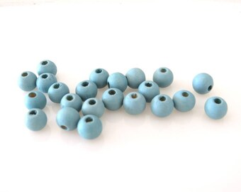 Set N, 8 mm X 20 blue wood beads