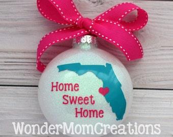 Florida Home Sweet Home Ornament; Florida State Love Christmas Ornament; Any State Home Sweet Home; Florida Christmas Bauble