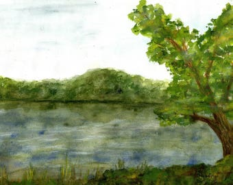 The Lake Original watercolorpainting