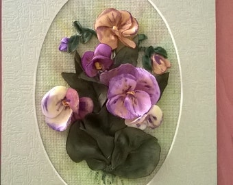 Embroidered greeting card.Wild violets.Ribbon embroidery.Gift