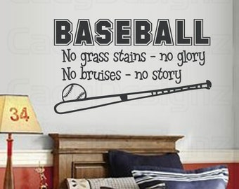 Baseball Sports Vinyl Wall Decal - Baseball Quote - No Grass Stains No Glory - Sport Decals - Boys Room Decor - Children Decor - LRG