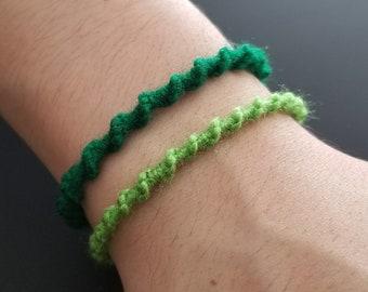 Green and Lime Bracelet Set, Friendship Bracelet, Woven Bracelet