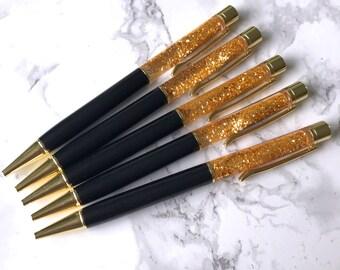 Black & Gold Floating Glitter Filled Sparkle Foil Pen