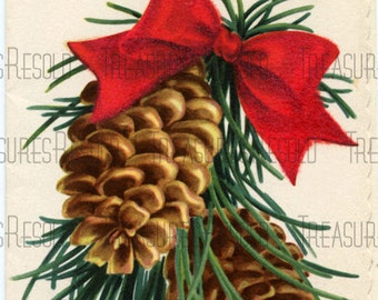 Merry Christmas Pine Cone Card #255 Digital Download