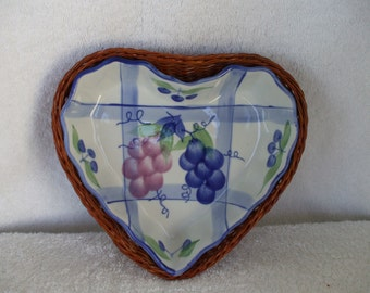 Heart Baking Dish , with Wicker Basket  Painted with Grapes and Berries