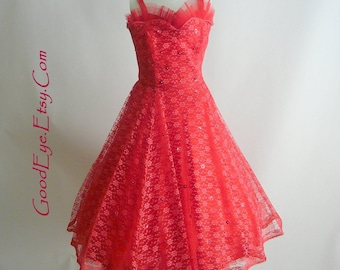 CAPTIVATING 50s RED LACE Party Dress  /  New Look Glamour Gown / Petticoat Cocktail Full Skirt / Petite Size small 2 4 6 Waist 25 inch