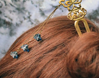 bridal hair  jewelry blue headpiece jewelry for hair wedding navy clear mix woodland black butterfly hair accessory gift gold hair pick h30