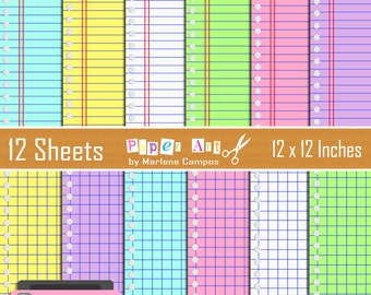 Notebook Digital Papers, Back to school digital paper, 12x12 printable papers, digital lined paper, Digital stationery