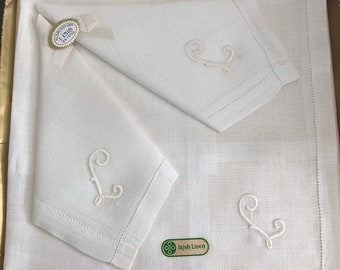 Vintage mint condition Irish Linen Handkerchiefs white with white embroidered monogrammed L