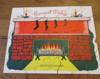 SALE Vintage Christmas card puzzle and original  mailing bag