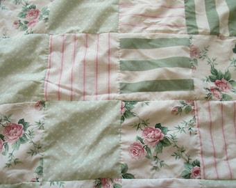 Vintage Fabrics Quilt top, Queen Quilt Top, Hand Sewn Quilt top, Handmade Quilt top, Vintage Pink Roses Quilt Top, Pink Green Quilt Top