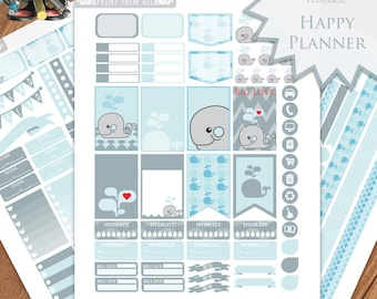Whale Planner Stickers Printable, HAPPY PLANNER STICKERS, Monthly/Weekly Kit, Printable Sampler, Happy planner kit, Instant download, diy