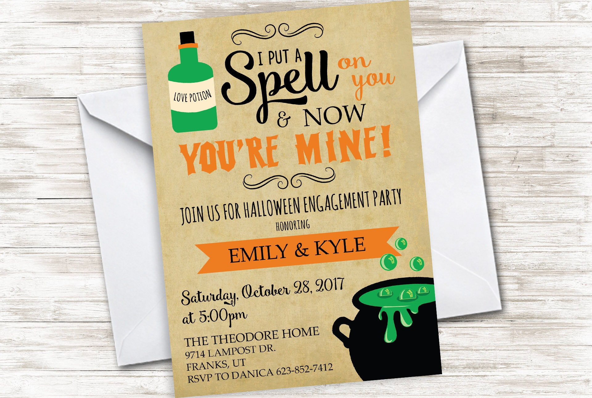 Halloween Engagement Party Invite Invitation 5x7 Digital