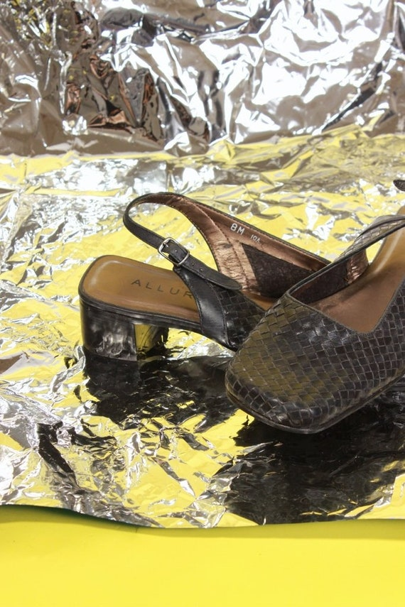 Black Toe Size Heels 8 Square Woven Slingback Shoes TIETxa