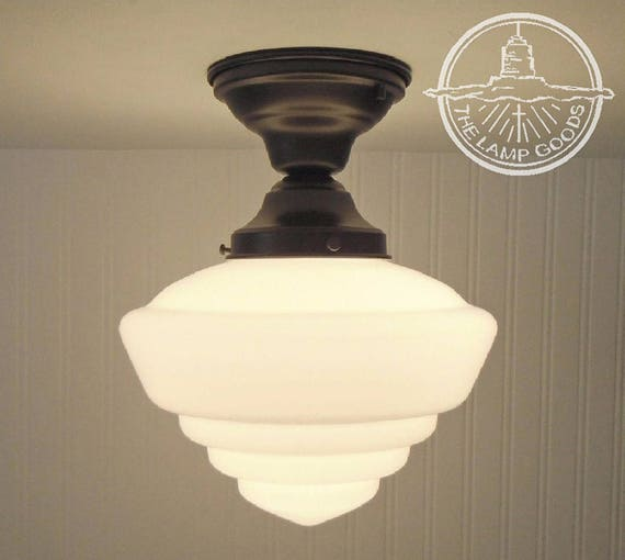 Windham milk glass schoolhouse ceiling light with semi flush like this item mozeypictures Images