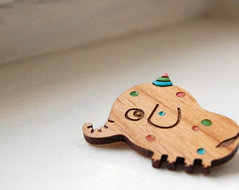 Party Elephant - wooden brooch
