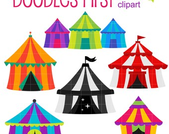 Circus Tents Digital Clip Art for Scrapbooking Card Making Cupcake Toppers Paper Crafts