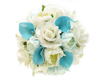 Stemple's Gatherings- Mixed Real Touch Light Blue Calla Lilies and Peonies, White Roses and Peonies -In a vase or a bouquet