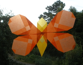 Orange Butterfly Window Decoration (Waldorf Sun Catcher Similar to Translucent Star)