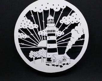 Hand cut Papercut: Lighthouse by the Sea