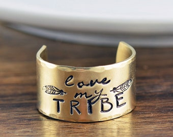 Love My Tribe Ring, Hand Stamped Ring, Personalized Mothers Ring, Mothers Day, Personalized Ring, Adjustable Ring