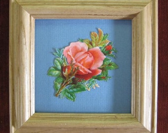 Romantic Gift Antique Rose Picture Cottage Garden Rose Real Victorian Scrap Die Cut Scrap Framed