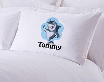 "Monogrammed Shark Pillowcase 30"" x ""20"